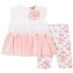 Little Lass Baby Girls 2-pc. Lace Floral Leggings Set