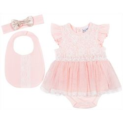 Nicole Miller New York Baby Girls 3-pc. Solid Lace Tulle Set