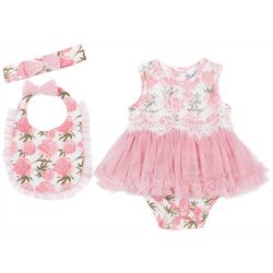 Nicole Miller New York Baby Girls 3-pc. Rose Bow Layette Set