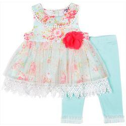 Little Lass Baby Girls Floral Capri Leggings Set
