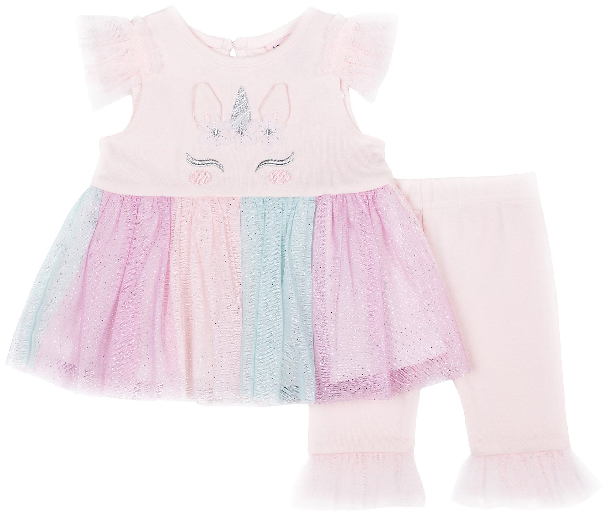 c46b14c3c2c1a Little Lass Baby Girls Unicorn Glitter Capri Leggings Set | eBay
