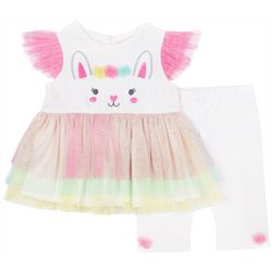 Little Lass Baby Girls Bunny Glitter Capri Leggings Set
