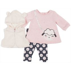 Little Lass Baby Girls 3-pc. Faux Fur Vest Sheep Set