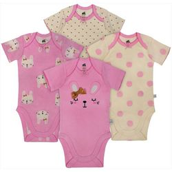 Just Born Baby Girls 4-pk. Sleepy Bunny Bodysuits