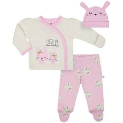 Just Born Baby Girls 3-pc. Hello I'm New Here Layette Set