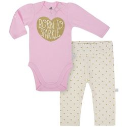 Just Born Baby Girls Born To Sparkle Bodysuit Set