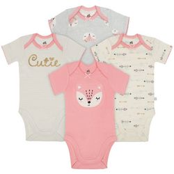 Just Born Baby Girls 4-pk. Fox Cutie Bodysuits