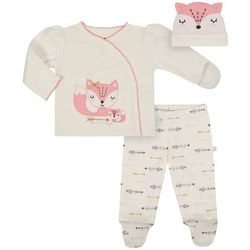 Just Born Baby Girls 3-pc. Fox Friends Layette Set