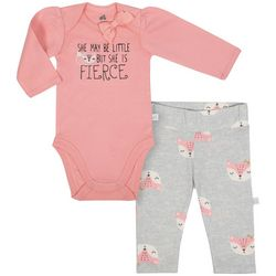 Just Born Baby Girls Little But Fierce Bodysuit Set