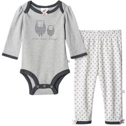 Just Born Baby Girls Organic Floral Lamb Bodysuit Set