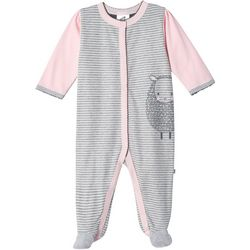 Just Born Baby Girls Organic Striped Lamb Footie Pajamas