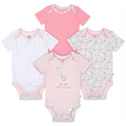 Just Born Baby Girls 4-pk. Floral Llama Bodysuits
