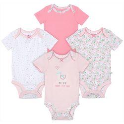 Just Born Baby Girls 4-pk. Floral Llama Bodysuits