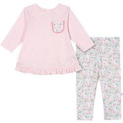 Just Born Baby Girls Organic Polka Dot Llama Leggings Set