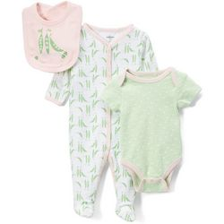 Quiltex Baby Girls 3-pc. Polka Dot Pea Pod Layette Set