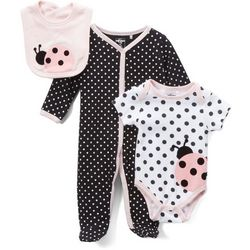 Quiltex Baby Girls 3-pc. Polka Dot Ladybug Layette Set