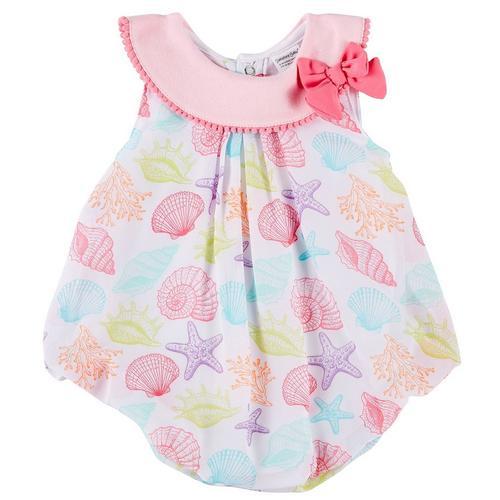 2acc30cca97 Sunshine Baby Baby Girls Seashell Print Bubble Romper