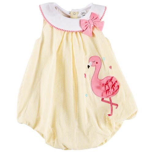 df25813ae5a Sunshine Baby Baby Girls Stripe Flamingo Bubble Romper