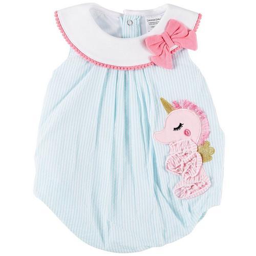 828ff6b34013 Sunshine Baby Baby Girls Stripe Seahorse Bubble Romper