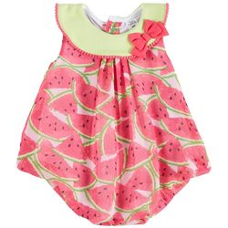Sunshine Baby Baby Girls Watermelon Print Bubble Romper