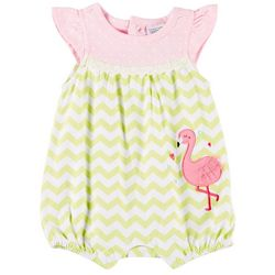 Sunshine Baby Baby Girls Chevron Flamingo Ruffle Romper