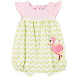 b19ca6f5cc1a Sunshine Baby Baby Girls Chevron Flamingo Ruffle Romper