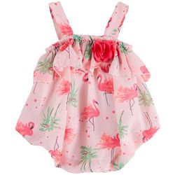 Sunshine Baby Baby Girls Flamingo Print Bubble Romper