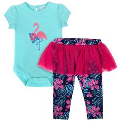 Sunshine Baby Baby Girls Flamingo Tutu Leggings Set
