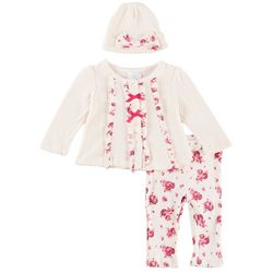 Laura Ashely Baby Girls 3-pc. Floral Pointelle Layette Set
