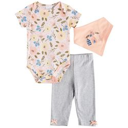 Laura Ashley Baby Girls 3-pc. Floral Print Layette Set