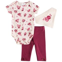 Laura Ashley Baby Girls 3-pc. Floral Layette Set