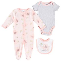 Little Beginnings Baby Girls 3-pc. Elephant Layette Set