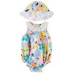 Little Beginnings Baby Girls Floral Romper & Hat Set