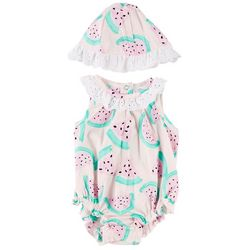 Little Beginnings Baby Girls Watermelon Romper Set