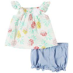 Little Beginnings Baby Girls Pineapple Shorts Set