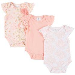 Laura Ashley Baby Girls 3-pk. Floral & Solid Bodysuits