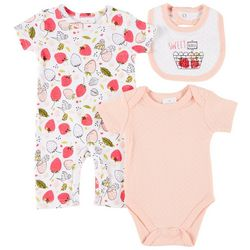 Laura Ashley Baby Girls 3-pc. Sweet Berries Bodysuit Set