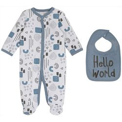 Chick Pea Baby Boys 2-pk. Hello World Footie Pajamas & Bib