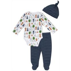 Chick Pea Baby Boys 3-pc. Fox Print Footie Pants Set