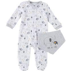 Chick Pea Baby Boys 2-pk. Elephant Footie Pajamas & Bib