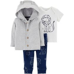 Carters Baby Boys 3-pc. Roar Cardigan Pants Set