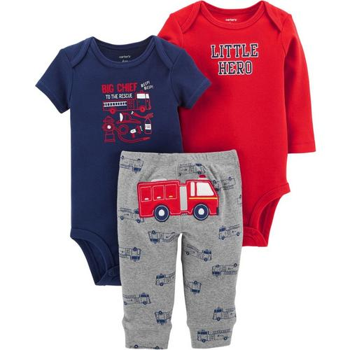 436e6615f200 Carters Baby Boys 3-pc. Little Hero Fire Truck Layette Set