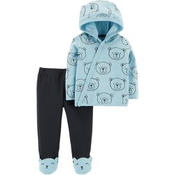 Carters Baby Boys Bear Print Side Snap Cardigan Pants Set