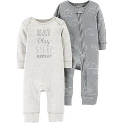 Carters Baby Unisex 2-pk. Eat Play Sleep Repeat Jumpsuits