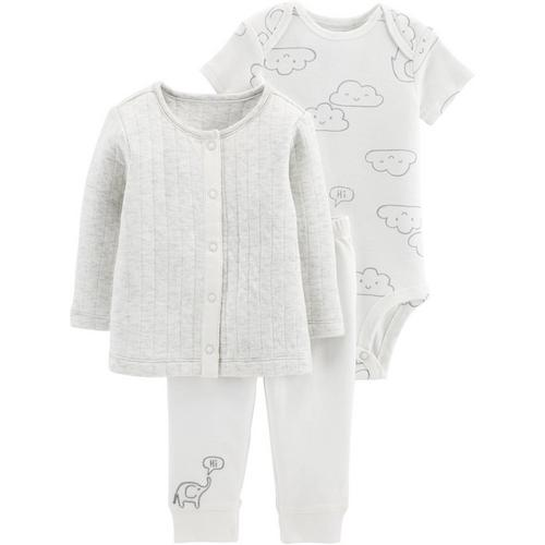 c71cb6dd2 Carters Baby Boys 3-pc. Elephant In The Clouds Cardigan Set