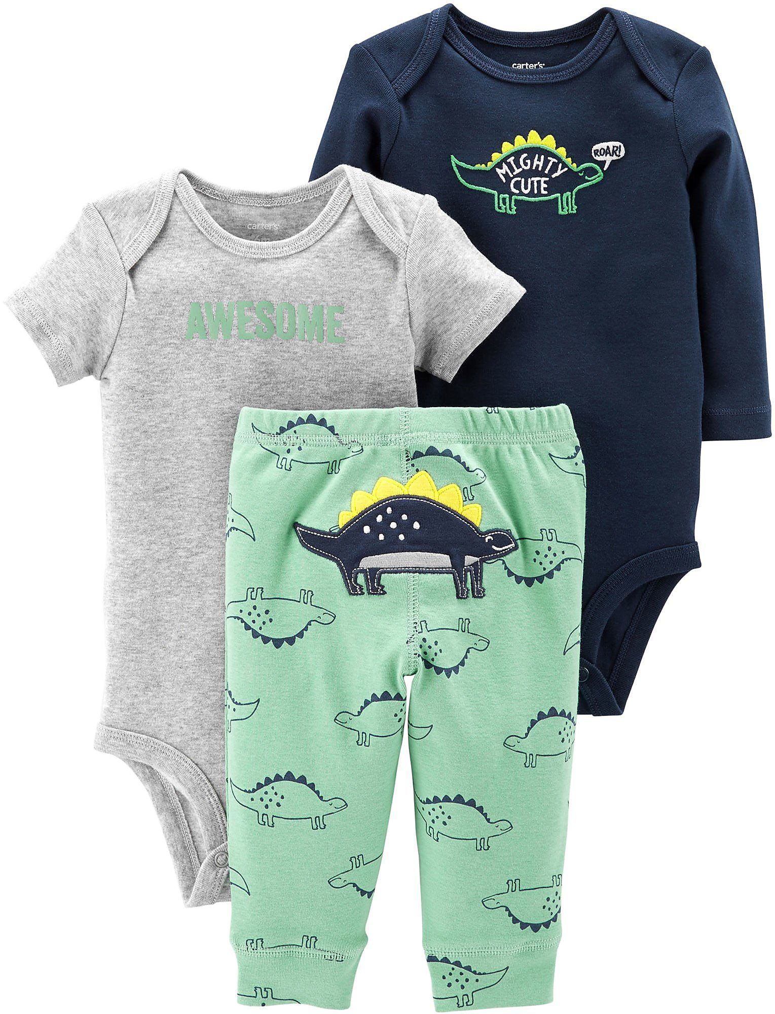 f7b25f2401ea Carters Baby Boys 3-pc. Mighty Cute Dino Layette Set | eBay