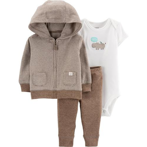 Sleeper Set 18 months Carters Boys 3 Piece Pant//Hoodie Jacket Grey//White