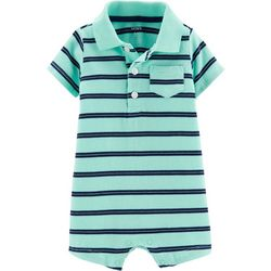 Carters Baby Boys Stripe Print Pocket Polo Romper