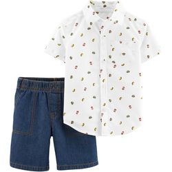 Carters Baby Boys Fast Food Button Down Shorts Set