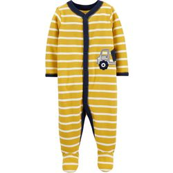 Carters Baby Boys Striped Dump Truck Snug Fit Footie Pajamas